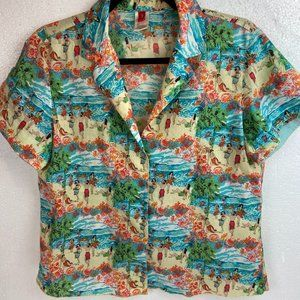 Josie Shirt Hawaiian 100% Think Cotton Sz M